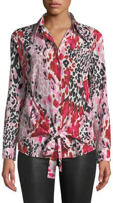 M Missoni Long-Sleeve Animal-Print Wrap Blouse