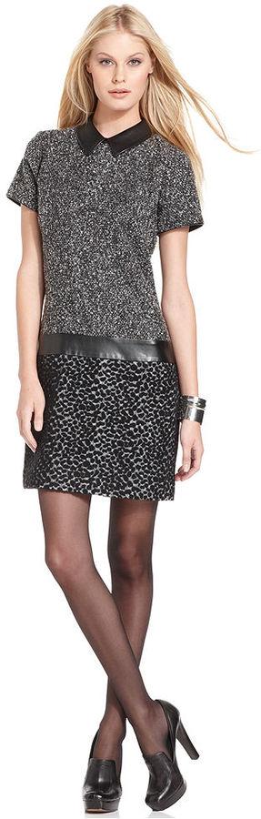 W118 by Walter Baker Dress, Short-Sleeve Faux-Leather Collar Tweed Sheath