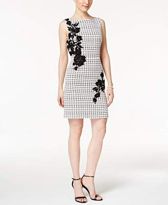 Betsey Johnson Women's Woven Sheath Dress With Lace Trim