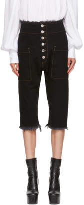 Marques Almeida Black Cropped Drop Jeans