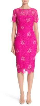 Women's Lela Rose Floral Lace Sheath Dress $1,595 thestylecure.com
