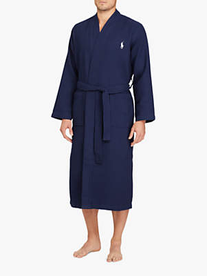Ralph Lauren Polo Cotton Waffle Robe, Navy