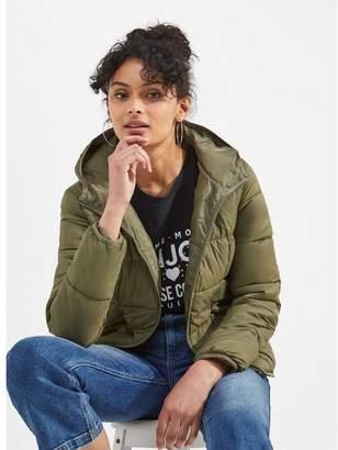 Miss Selfridge Khaki Lightweight Hooded Puffer Jacket