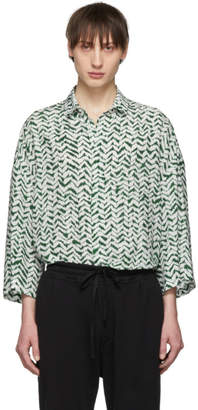 Haider Ackermann Green and White Silk Greenfield Shirt