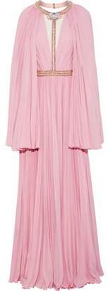 Jenny Packham Cutout Embellished Pleated Chiffon Gown