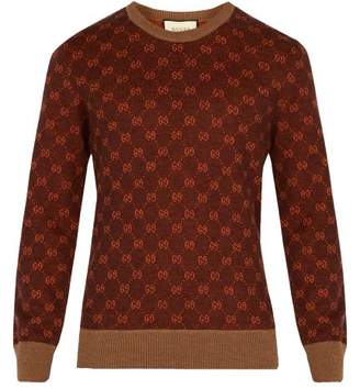 Gucci Gg And Stripes Crew Neck Sweater - Mens - Brown