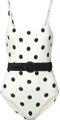 Solid & Striped The Nina Belted Polka-dot Swimsuit - Ivory