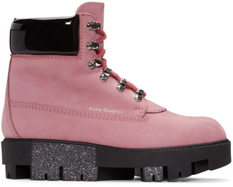 Acne Studios Pink Telde Hiking Boots $650 thestylecure.com