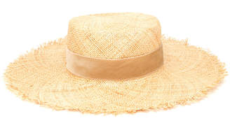 LACK OF COLOR Aruba Frayed Velvet-Trimmed Straw Hat