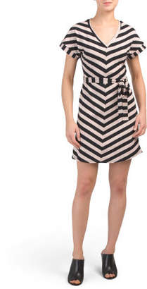 Juniors Knit Stripe Tie Waist Dress