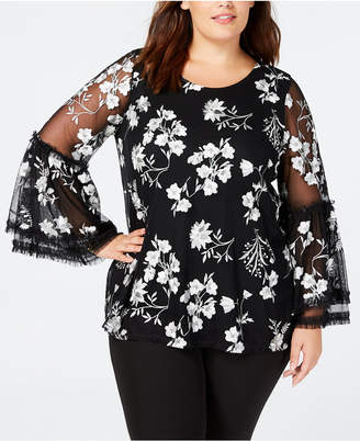 Alfani Plus Size Embroidered Mesh Top
