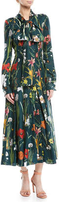 Oscar de la Renta Tie-Neck Button-Front Long-Sleeve Garden-Print Long Silk Dress