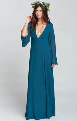 Show Me Your Mumu Venus Long Sleeve Flare Dress ~ Deep Jade Chiffon