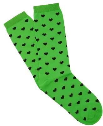 Ganni Hearts Ankle Socks - Womens - Black Green