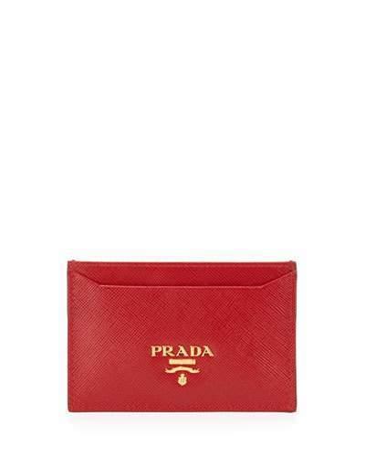 pradaPrada Saffiano Card Holder, Black (Nero)