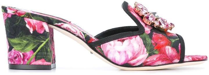 Dolce & GabbanaDolce & Gabbana embellished rose print mules