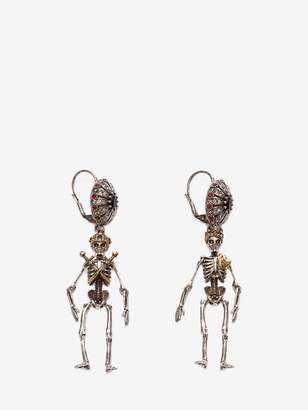 "Alexander McQueen ""Queen And King"" Skeleton Earrings"