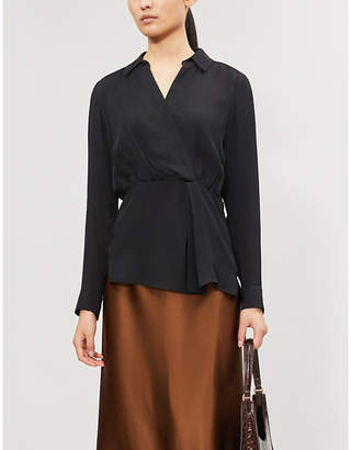 Veronica Beard Clyde silk wrap shirt