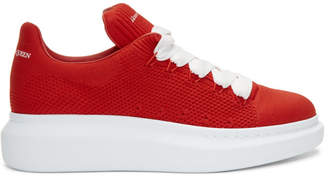 Alexander McQueen Red Knit Oversized Sneakers
