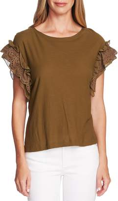 Vince Camuto Eyelet Trim Mixed Media Top