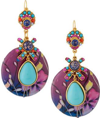 Jose & Maria Barrera Floral-Print Decoupage Earrings, Fuchsia/Turquoise