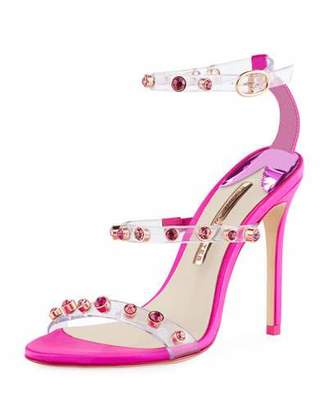 Sophia Webster Rosalind Gem-Stud See-Through Vinyl & Satin Sandals