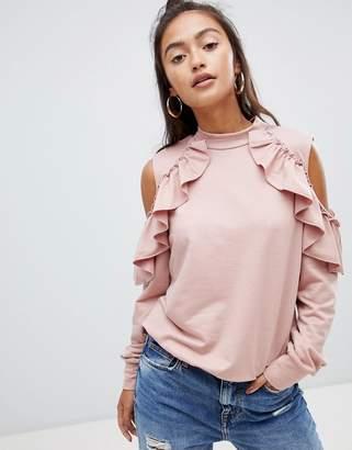 Glamorous cold shoulder frill detail sweatshirt