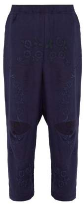 By Walid - Jude Floral Embroidered Linen Trousers - Mens - Indigo