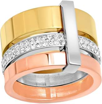 Steel By Design Stainless Steel Tri-Color Crystal Ring