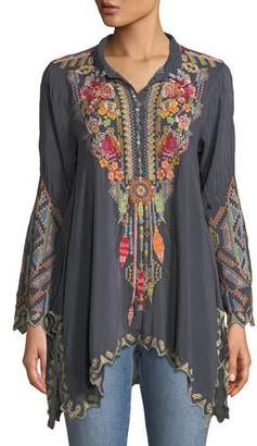 Johnny Was Festival Long-Sleeve Embroidered Georgette Tunic, Petite
