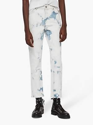 AllSaints Ava Straight Tie Dye Jeans, Punk Bleach Blue