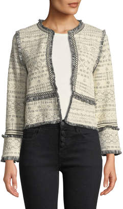 Moon River Frayed-Trim Boucle Cardigan