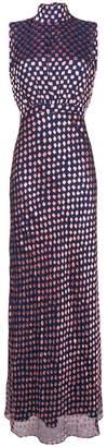 Saloni square print floor-length dress