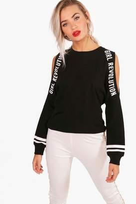 boohoo Jane Cold Shoulder Slogan T-Shirt