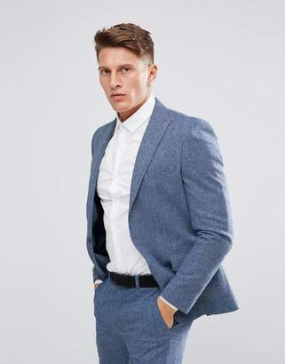 Moss Bros Skinny Suit Jacket In Fleck