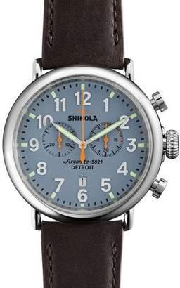 Shinola 47mm Runwell Chrono Watch, Dark Brown/Blue $750 thestylecure.com