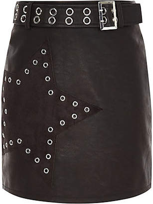 River Island Girls Black star studded belted mini skirt