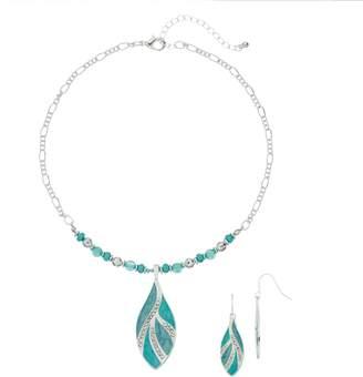 Teal Leaf & Bead Necklace & Drop Earring Set