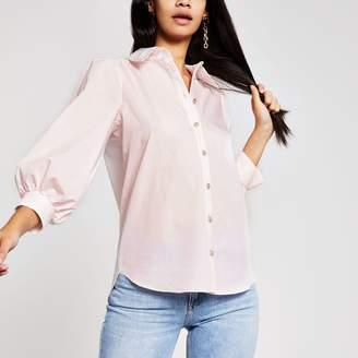 River Island Womens Light Pink puff sleeve shirt