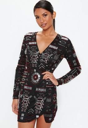 Missguided Black Premium Plunge Wrap Embellished Dress