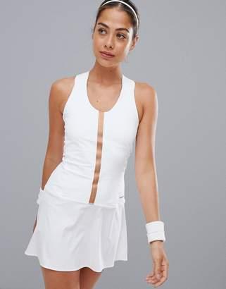 Head performance dress in white