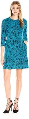 MSK Women's 3/4 Sleeve Exposed Zipper Printed Sweater Dress