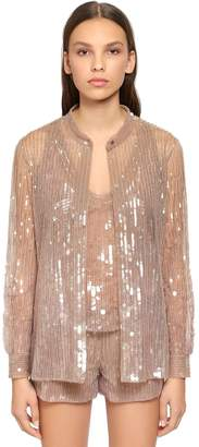 Alberta Ferretti Beaded & Sequined Tulle Shirt