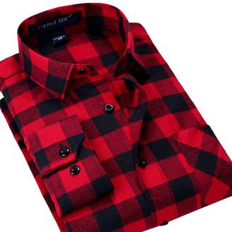 XI PENG Men's Winter Thermal Jacket Checked Long Sleeve Flannel Shirts (Black White,)