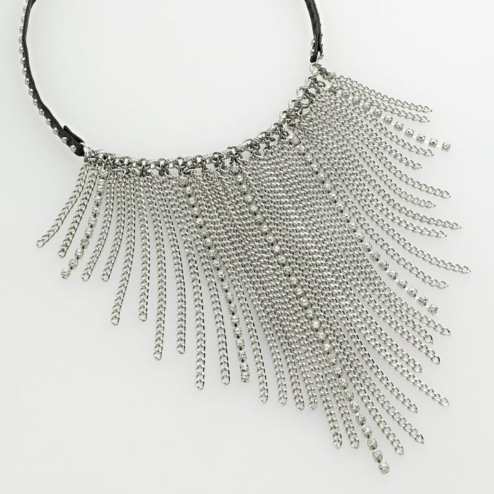 Simply vera vera wang silver-tone studded bib necklace
