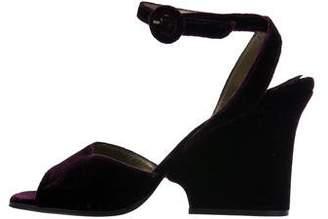Saint Laurent Velvet Ankle Strap Sandals
