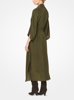Michael Kors Silk-Georgette Cowl-Neck Shirtdress