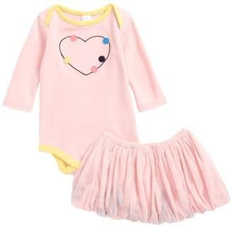 Nordstrom Bodysuit & Pompom Tutu Skirt Set (Baby Girls)