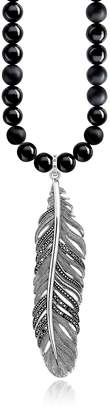 Thomas Sabo Rebel Icons Black Beads and Sterling Silver Feather Pendant Necklace