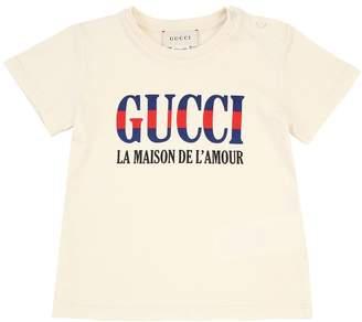 Gucci Logo Printed Cotton Jersey T-Shirt